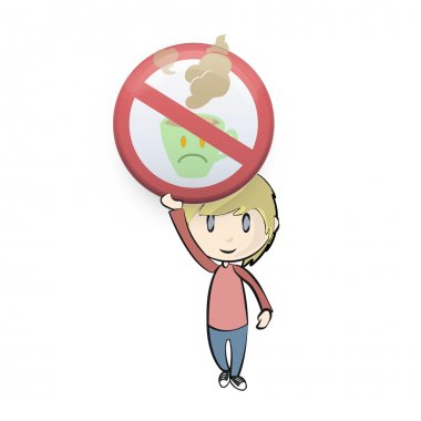 Kid holding prohibited sign with coffee cup. Vector design