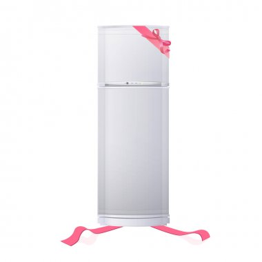 Realistic refrigerator with red ribbons. Vector design