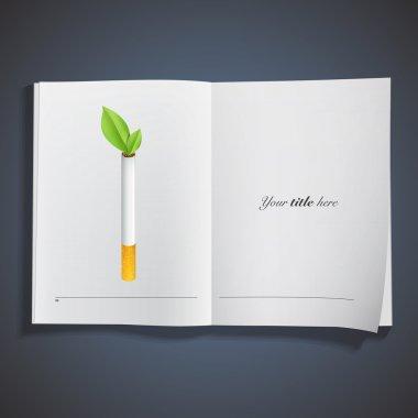 Ecologic cigarette printed on book. Vector design