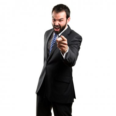 businessman angry and shouting over isolated white background