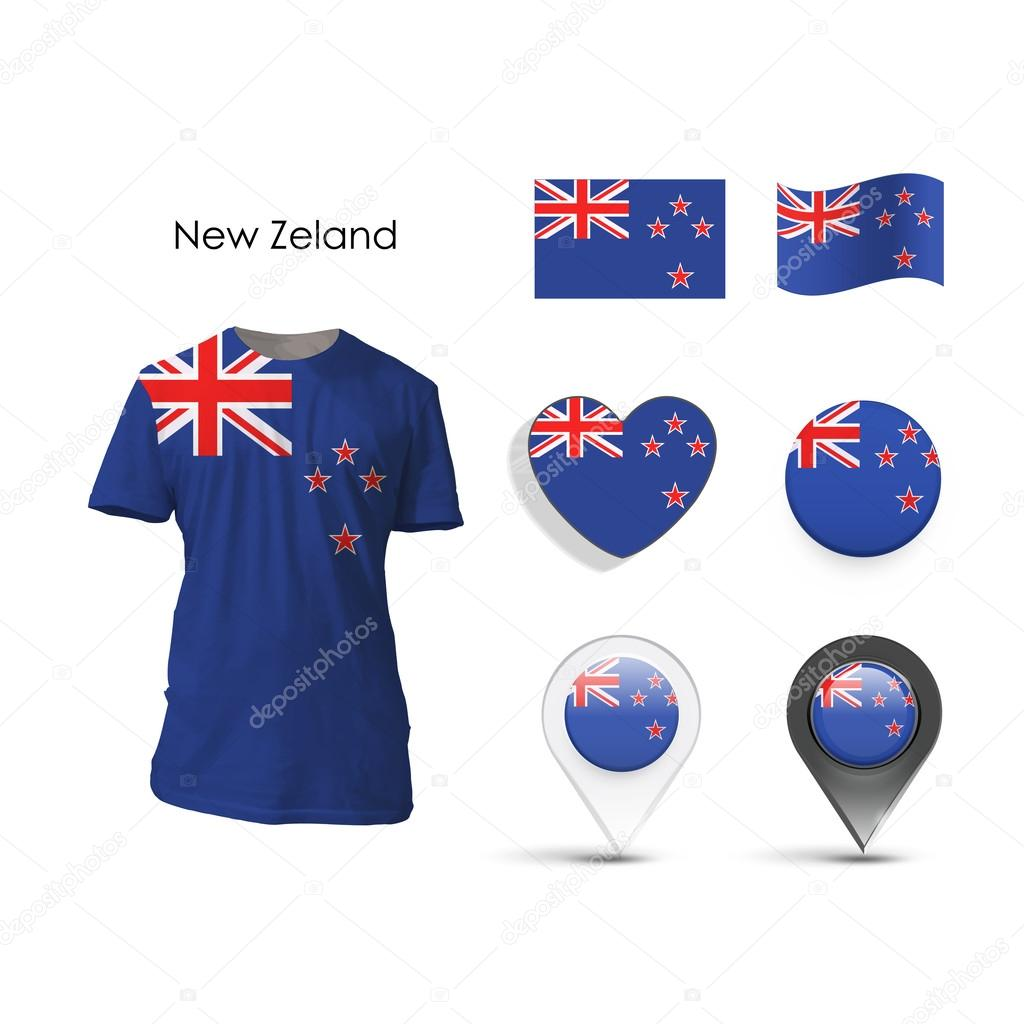 Set of New zealand design over white background