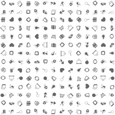 Pattern of silhouette icons over white background. Vector design.