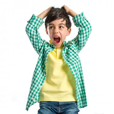 Kid screaming over white background