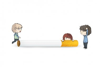 Kids with cigarette over isolated white background