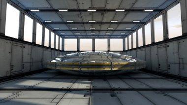 Futuristic corridor and UFO