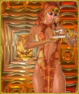 Sexy snake charmer on orange, copper and gold abstract background with frame.