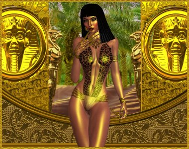 Seductive Egyptian woman in leopard print bathing suit, revealing cleavage.
