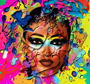 Close up face of a beautiful girl on an abstract background of splattered paint.