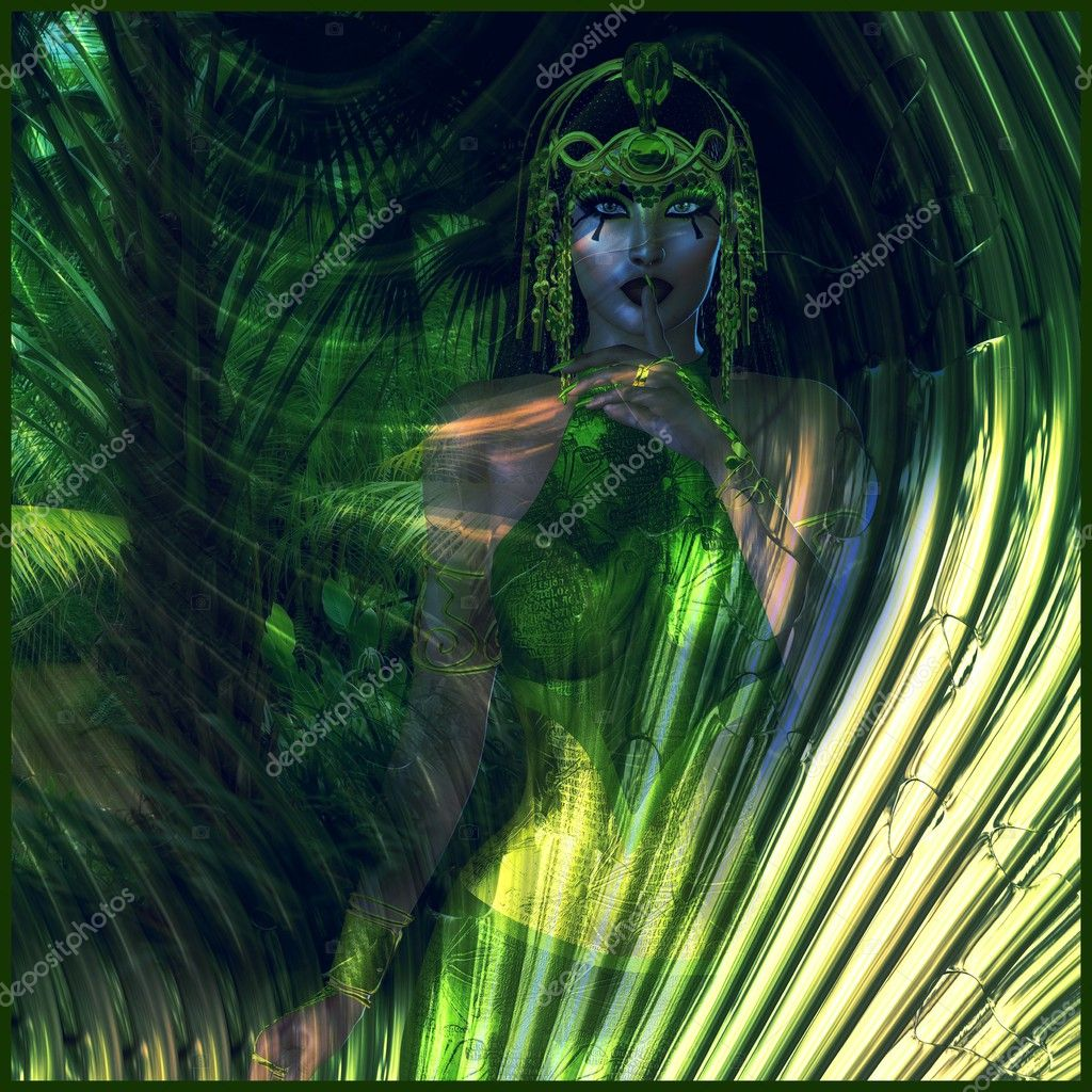Abstract green Egyptian Goddess of the Earth