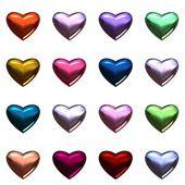 Fotografie Valentinstag Herzen isoliert auf weiss. 16 bunte 3d Herzen auf einer Seite im PNG-format