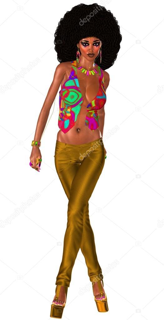 Fryzura Afro I Strój Retro Pełne Tego Moda Piękny Wygląd Zdjęcie