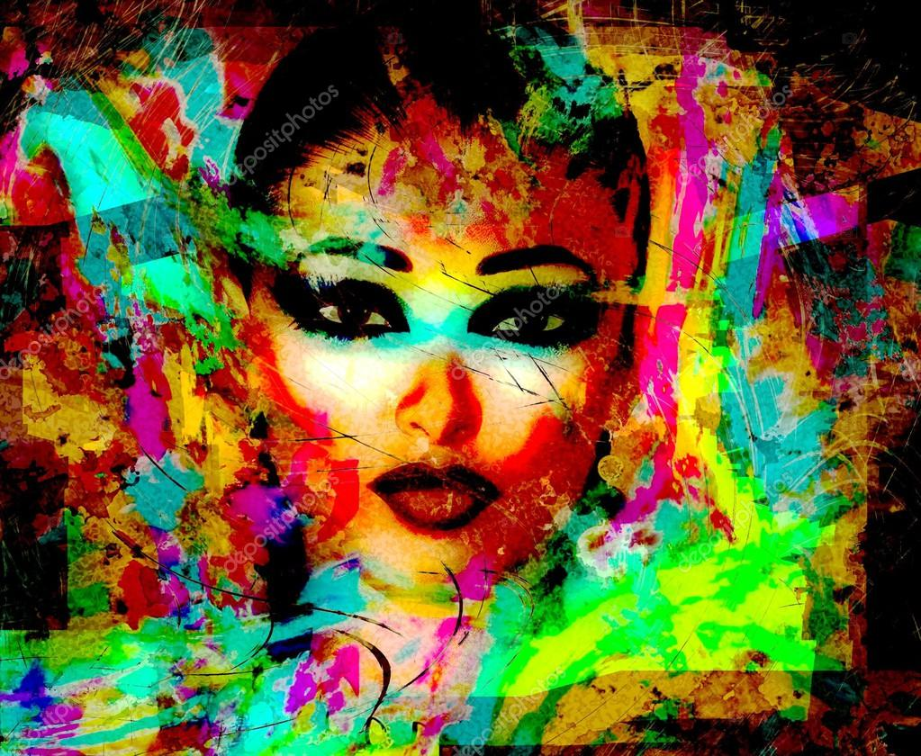 Modern digital art image of a woman's face, close up with abstract background.