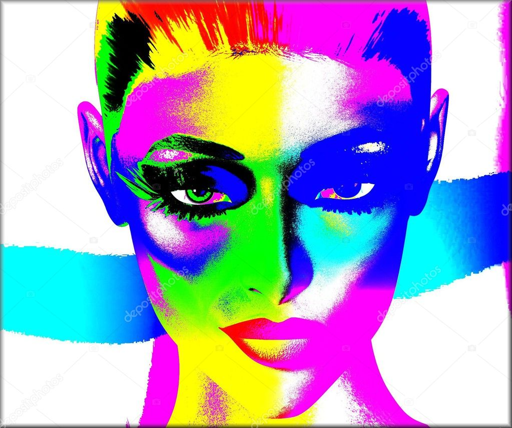 Colorful pop art image of a woman's face on a white background.  An abstract, punk style image.