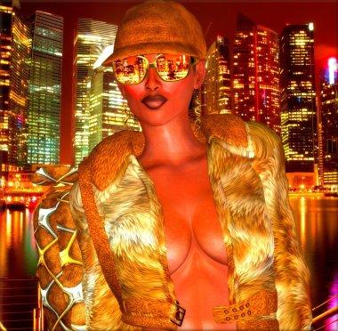City lights at night,disco girl