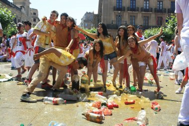 A group of young, Pamplona San Fermin
