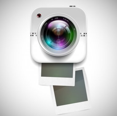 Camera icon and polaroids