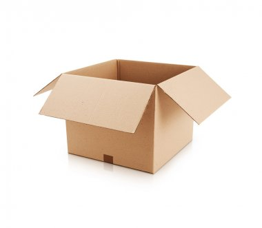 Open cardboard box on white background stock vector