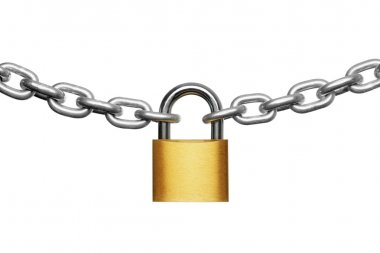 Padlock and chain isolated on white stock vector