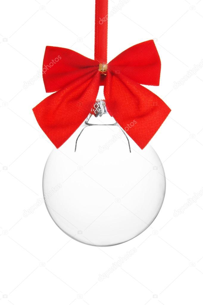 Bola Navidad Vacio Transparente Colgando De Cinta Roja Fotos De - Bolas-de-navidad-transparentes