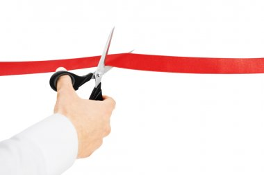 Cutting red ribbon
