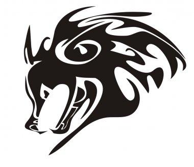 Wolf head. Tribal animal