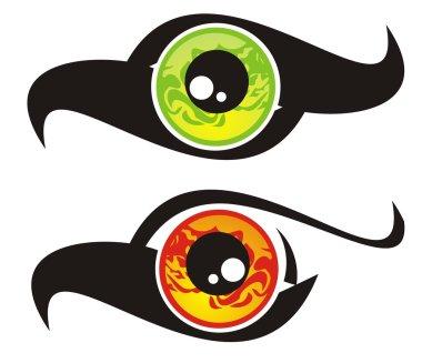 Eye symbol in the form of a bird