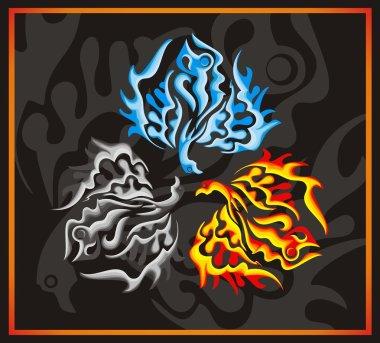 Phoenix bird - fire, water, ashes