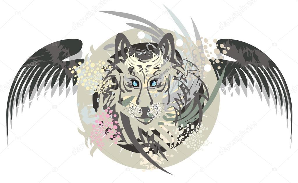 Imágenes Lobos Con Alas Cabeza De Lobo En Un Círculo Con Alas