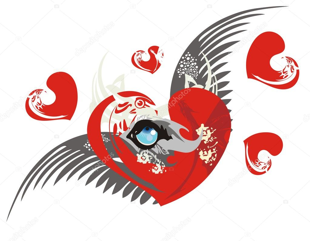 Love heart with wolf eye and wings