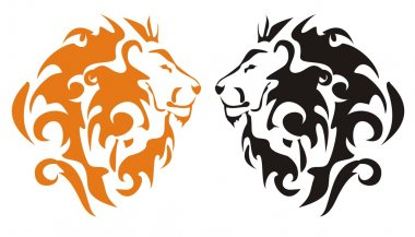 Tribal lion heads, vector
