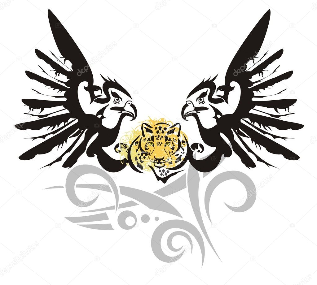 31bfbf7fb Tribal eagle heads with the head of a leopard ready for a tattoo, graphics  on the vehicle, also for labels, stickers and emblems, T-shirt designs —  Vector ...