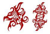 Fényképek lángoló törzsi phoenix fej és dupla jel a Főnix Rendje