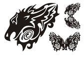 Fotografia testa di drago tribale e simboli draghi arrotolati