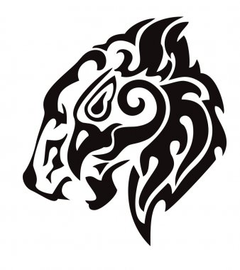 Tribal lion head formed by the head of an eagle