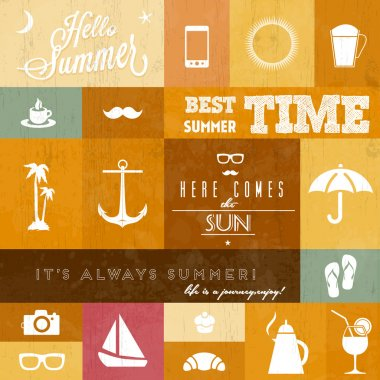 Vector summer icons clip art vector