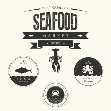 Set of vintage seafood labels, badges and design elements