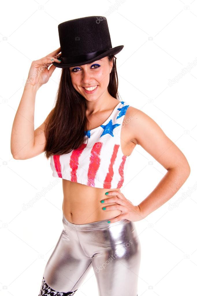 donna con cappello isolato su sfondo bianco — Foto Stock ... 771d3d919187