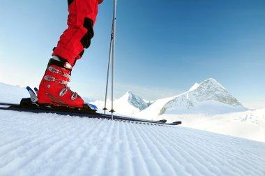 skier on untouched ski track