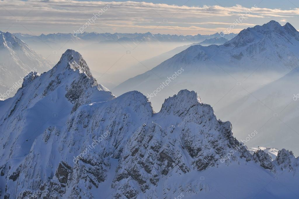 Morning in the winter mountains, Austian Alps
