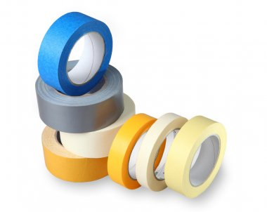 The composition of the seven-colored rolls of duct tape, isolate