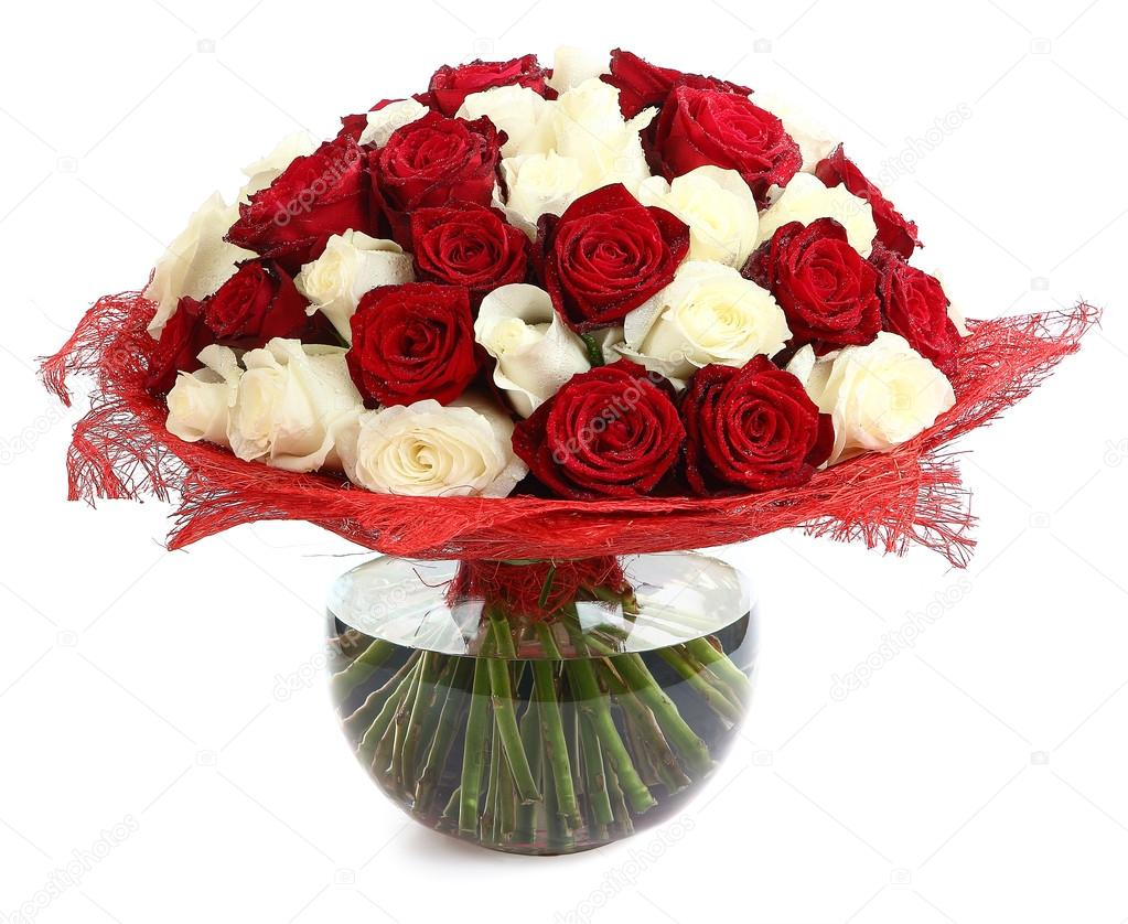 Floral compositions of red and white roses. Large bouquet of mixed colored roses. Design a bouquet of different color roses. Isolated image on white background. Multicolor rose, floristic arrangement