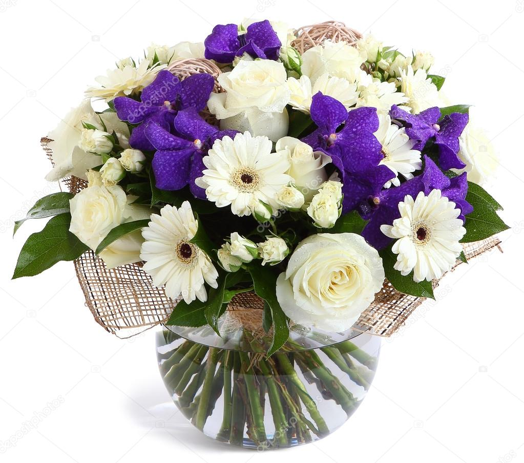 Floral composition in transparent vase: White roses, violet orchids, white gerbera daisies, green peas. Isolated on white. Floristic composition, design bouquet, floral arrangement. Purple orchids.
