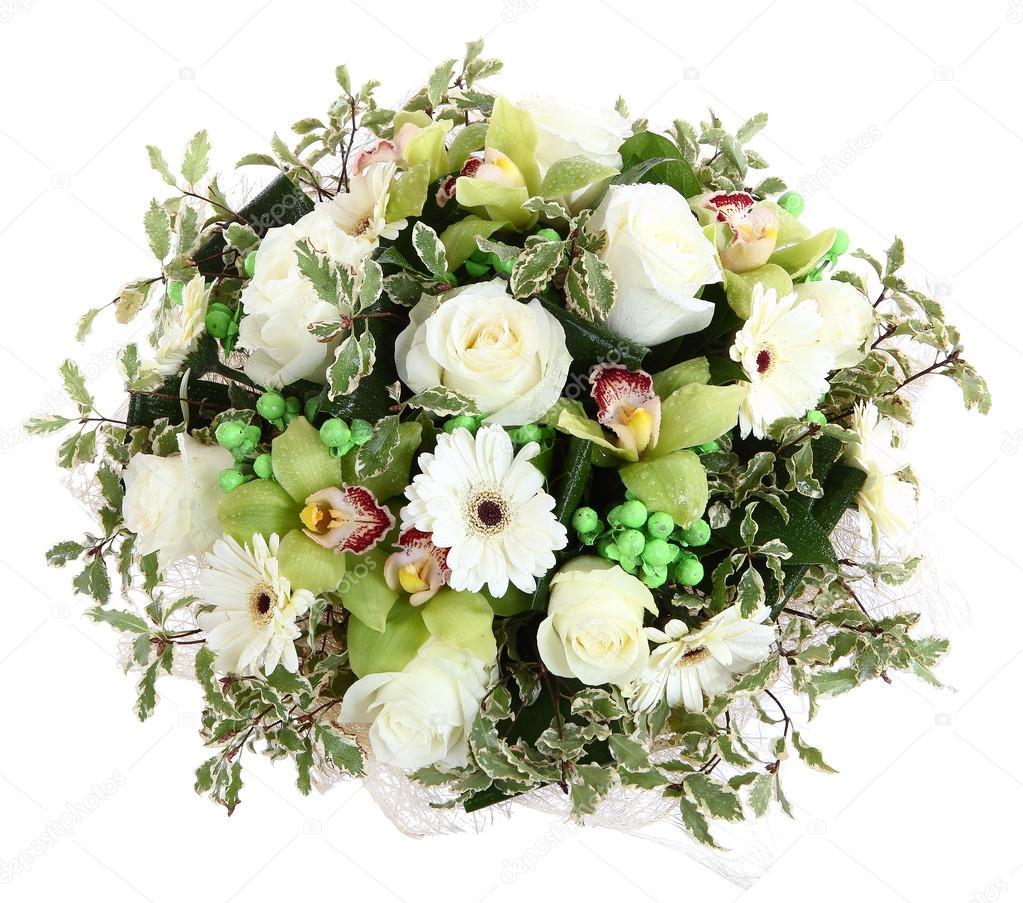 composiciones florales de rosas gerberas blancas y orqudeas composicin florstica diseo un ramo - Composiciones Florales