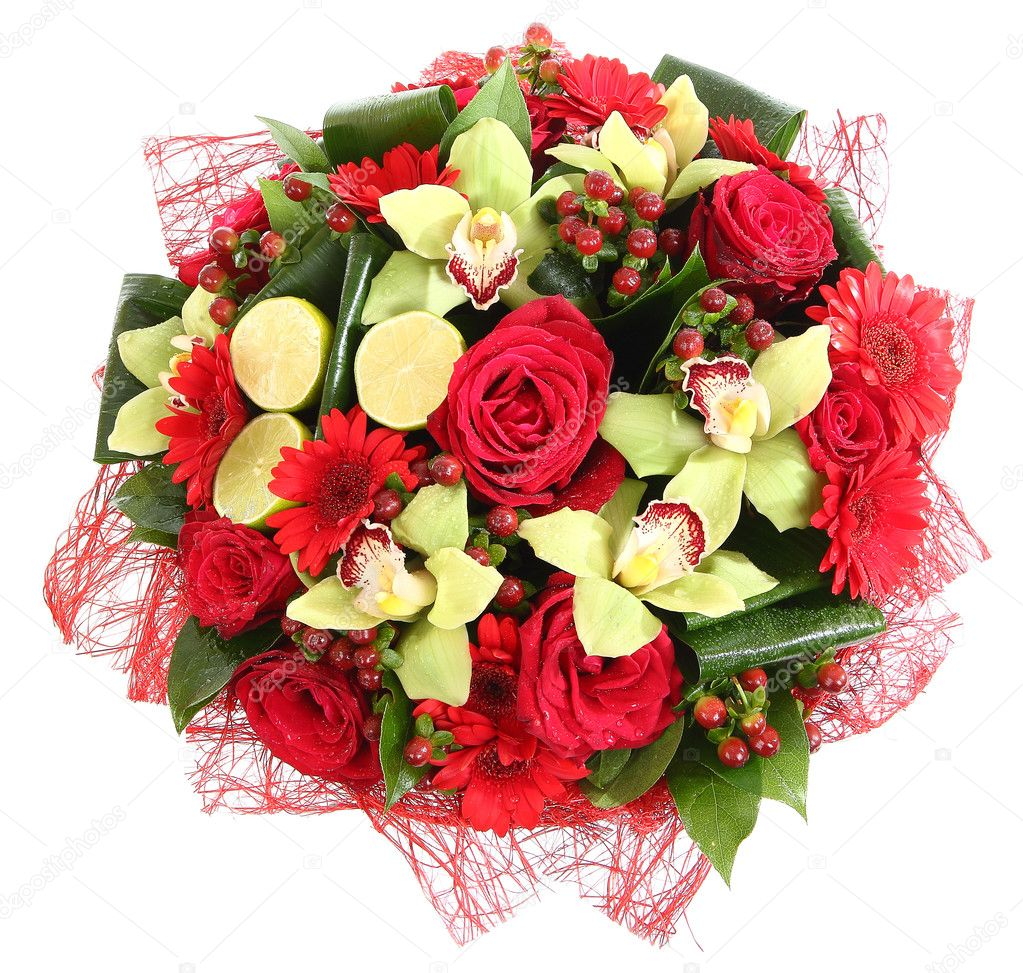composiciones florales de rosas gerberas rojas y orqudeas composicin florstica diseo un ramo de flores arreglos florales aislado sobre fondo blanco