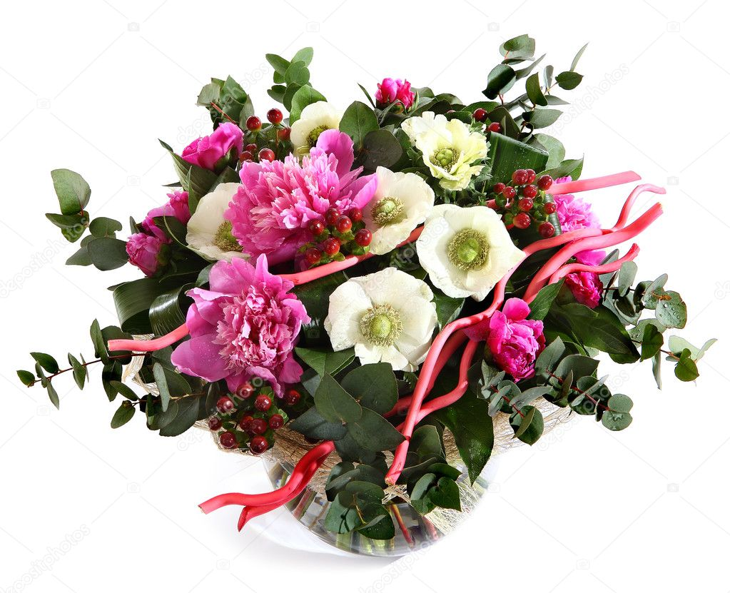 Design a bouquet of pink peonies, white poppies, and hypericum. Pink flowers, white flowers. Flower arrangement isolated on white background.