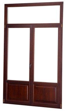 Closed window double glazed, dark mahogany color, isolated on white