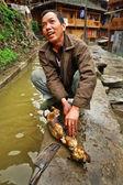 Venkovské asijské, nakrájela jatečně upraveného těla psa, pro použití v potravinách