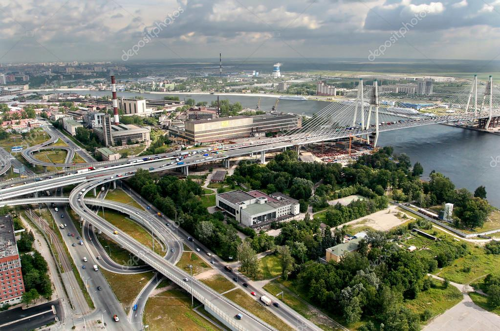 Construction Of Cable-stayed Bridge, Russia, Petersburg.