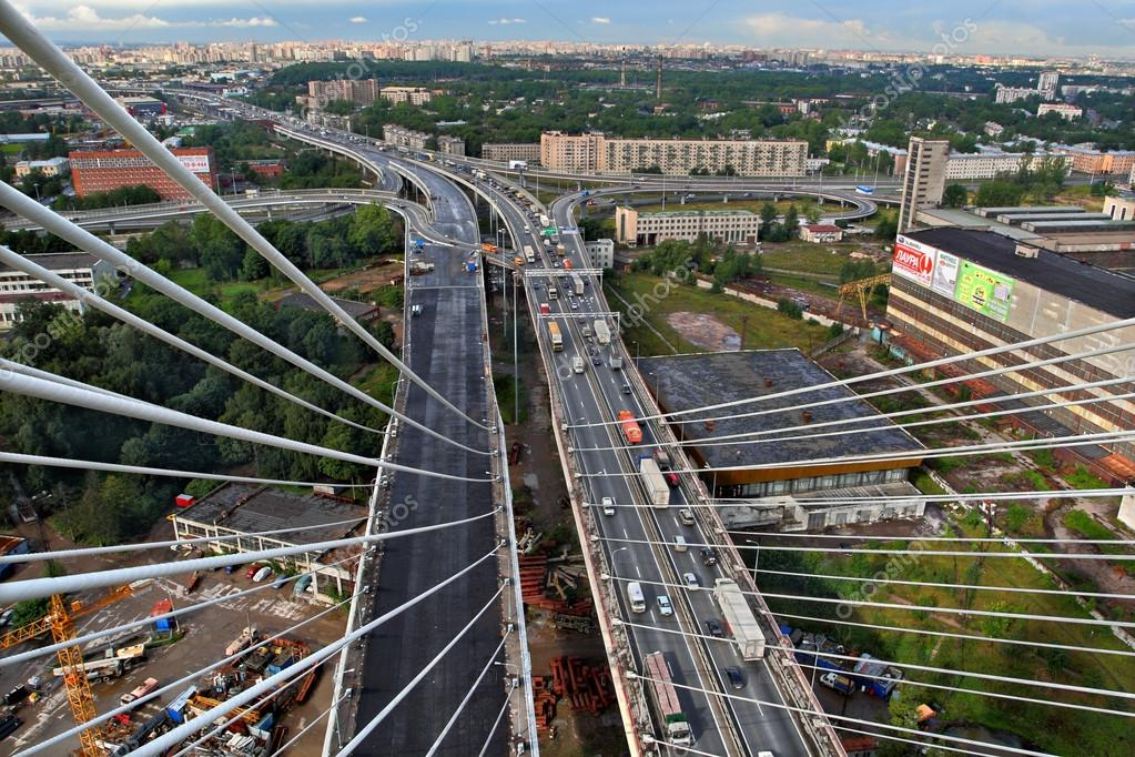 View from the pylon cable-stayed bridge at road interchange.