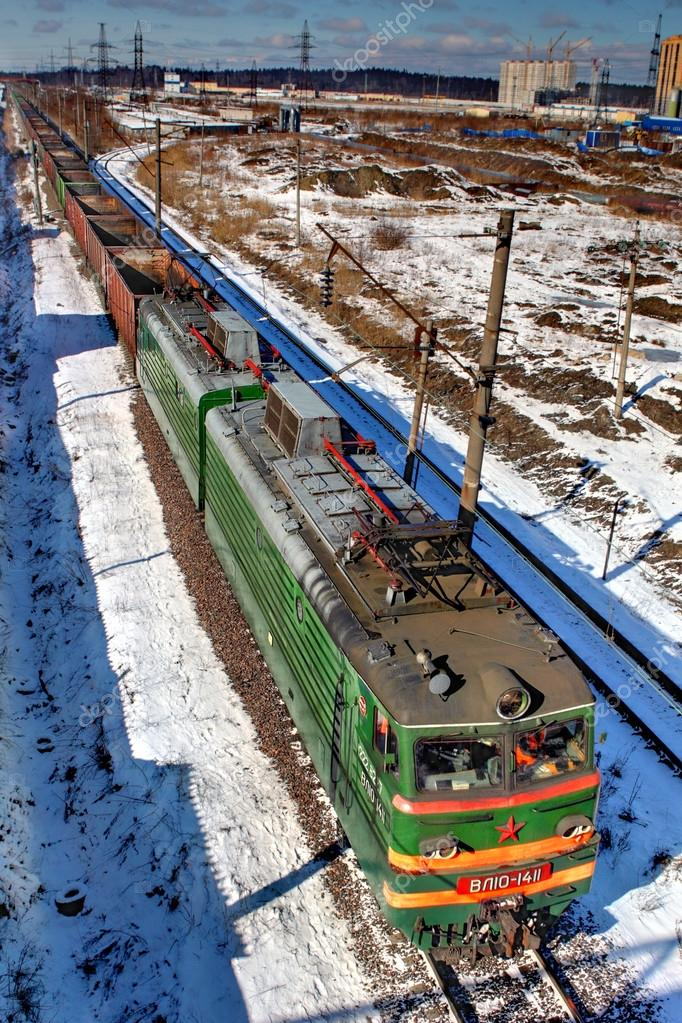Train freight without cargo, travels by rail, Russia.